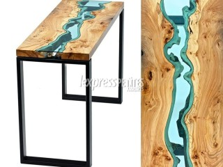 Wooden Table & console with glass river